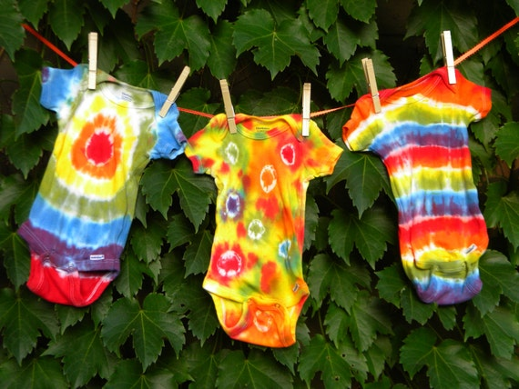 Custom (3) Pack of Tie-Dyed Baby Onesies-You Pick Size-You Pick Color Scheme