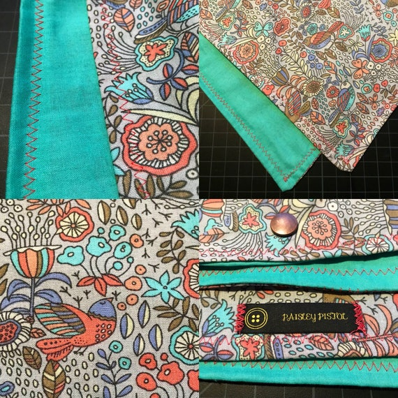 READY TO SHIP-Periwinkle & Seafoam Green-Handmade Folk Art Bandana-Snapback Bandana-Scarf-Cotton-Unisex