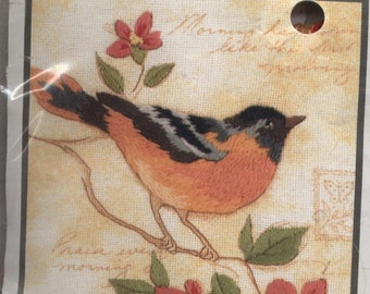 Elegant Oriole Crewel Embroidery Kit by Susan Winget