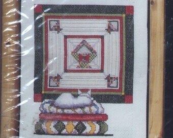 Contentment - Cat and Quilt Counted Cross-Stitch Kit with Wooden Display Stand