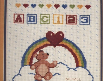 Teddy Bear & Rainbow Birthday Sampler Counted Cross-Stitch Kit