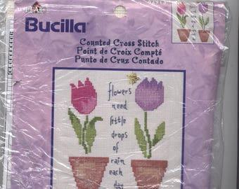 Blumen brauchen Regen gezählt Kreuzstich Kit - teilweise KIT