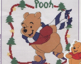 Disney Winnie the Pooh Ice Skating Counted Cross-Stitch Kit