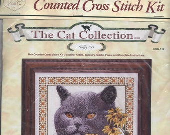 Tuffy Toes Cat Counted Cross-Stitch Kit