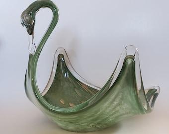 1960s Italian Swan Art Glass...Stretch Glass..Blue /& White Swirl Small Swan Art Glass