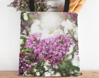 Garden Gift, Lilac Floral Tote Bag, Photo Canvas Bag, Spring Flower Bag, Reusuable Shopping Bag, Farmers Market Tote, Gifts for Her,