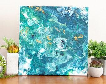 12x12 Abstract Blue Green Inky Fluid Art Painting, Green Abstract Art, Acrylic Painting, Small Painting, Affordable Art, Blue Green Wall Art