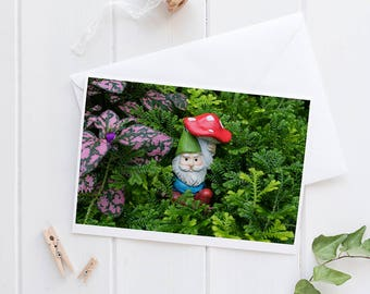 Garden Gnome Greeting Card, Gnome Notecard, Cute Gnome Card, Gnome Blank Card, Gnome Birthday, Blank Greeting Card, Garden Gnome