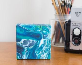 Blue Abstract Art, Abstract Painting, Modern Art Acrylic Painting, 4x4 painting, Small Painting Acrylic Pour, Fluid Art, Small Art