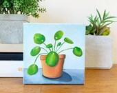 Garden Art, Pilea Original Oil Painting, 6x6 Houseplant painting, Chinese Money Plant Art, Gifts Under 50