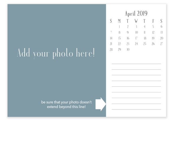 Instant Download 7x5 2019 Desk Calendar Template Landscape | Etsy