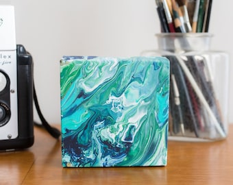 Mini Abstract Painting, Green Abstract Art, Modern Art Acrylic Painting, 4x4 painting, Small Blue Painting Acrylic Pour, Ocean Painting
