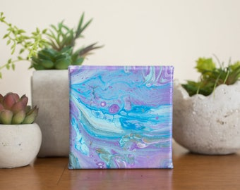 Small Purple and Blue Abstract Painting, Purple Acrylic Painting Modern Art 4x4 painting, Purple Wall Decor Original Painting, Blue Wall Art