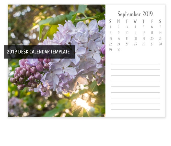 Instant Download 7x5 2019 Desk Calendar Template Landscape Etsy