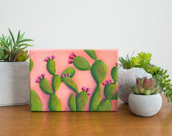 Gardening Gift, Prickly Pear Cactus Art, Cactus Original Oil Painting, 5x7 Cactus Painting, Gifts Under 75, Cactus Home Decor