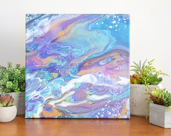 12x12 Acrylic Pour Painting on Canvas, Colorful Galaxy Abstract Art, Acrylic Painting, Small Painting, Affordable Art, Original Painting