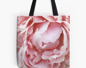 Gardening Gift, Pink Peony Fine Art Photo Canvas Tote Bag, Market Bag, Flower Tote bag, Photo Canvas Bag, Shopping bag, Reusable Bag