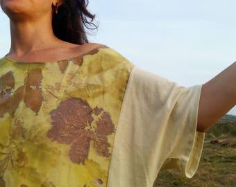 Eco print Silk blouse, organic cotton/hemp tee, natural dye, hand dye, eco style blouse, boho, ecofriendly blouse, zero waste dye