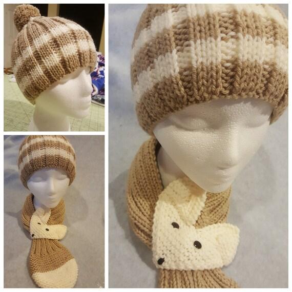 6febe69eddc Ensemble de bonnet tricoté à la main en tricot pour enfant