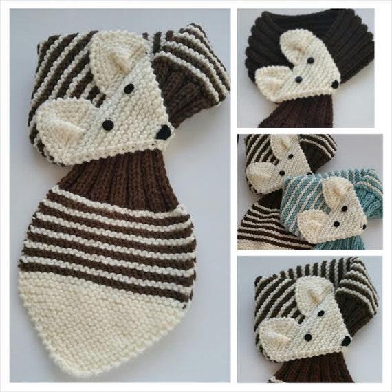 Kinder verstellbar Streifen Fuchs Schal Hand stricken Schal / | Etsy