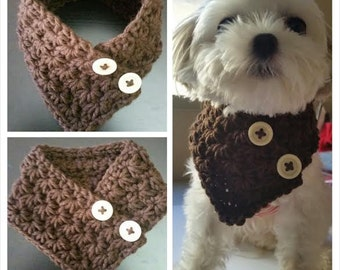 Small Dog Crocheted scarf, dog neck warmer, Choose from 6 Colors fits most S or M dogs and all other small breeds