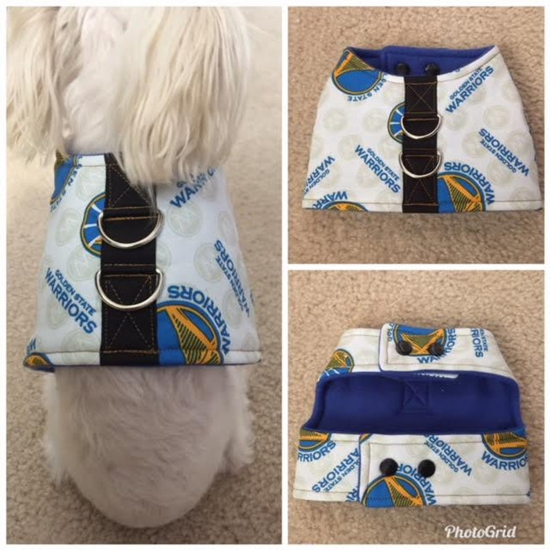 new styles 06f47 f9c2a Dog Vest Harness. Golden State Warriors Dog Vest Harness. Small Breed  Dogs/Cats vest harness. Warriors dog vest harness.Please check sizes