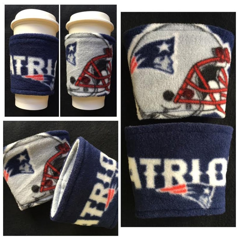72aa5c27 A [SET OF 2] NFL New England Patriots Fleece Fabric Coffee Cozy ,  Disposable Coffee Cup Holder - Coffee Sleeve - Coffee Cozies