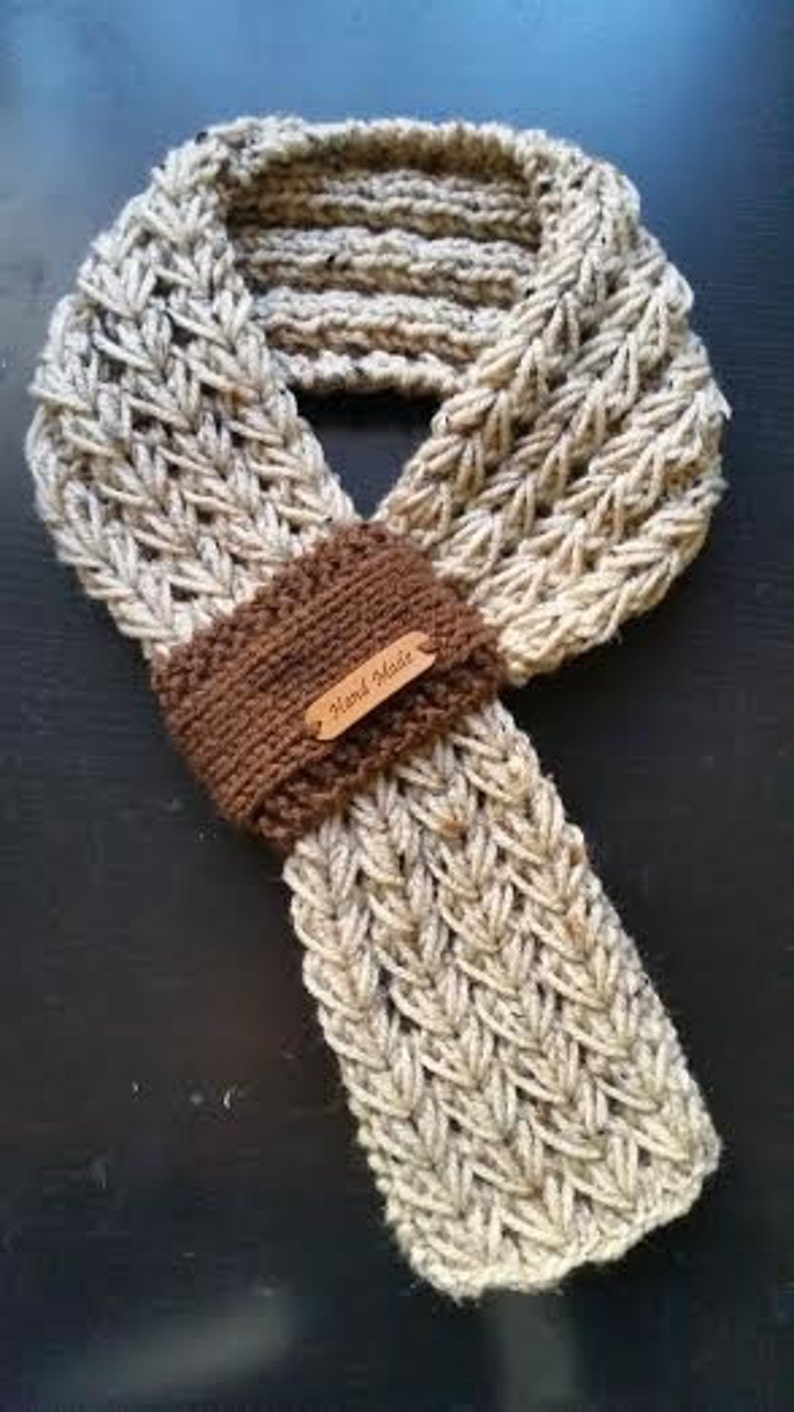 Kids or Adults Adjustable Hand Knit Scarf / Neck warmer with image 0