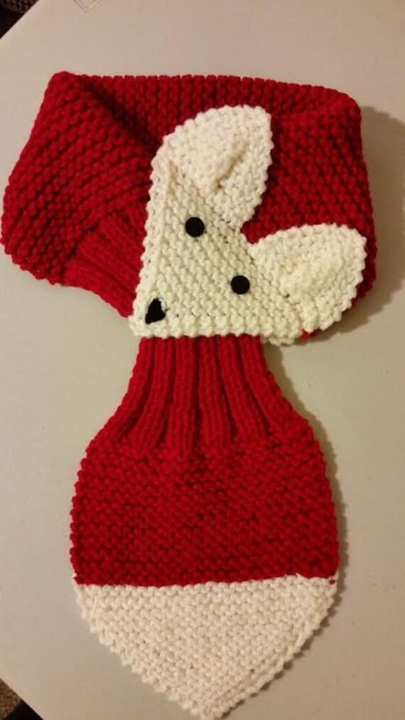 Réglable Pour Enfant Ou Adulte Fox écharpe à La Main En Tricot écharpe Col Chaud Rouge