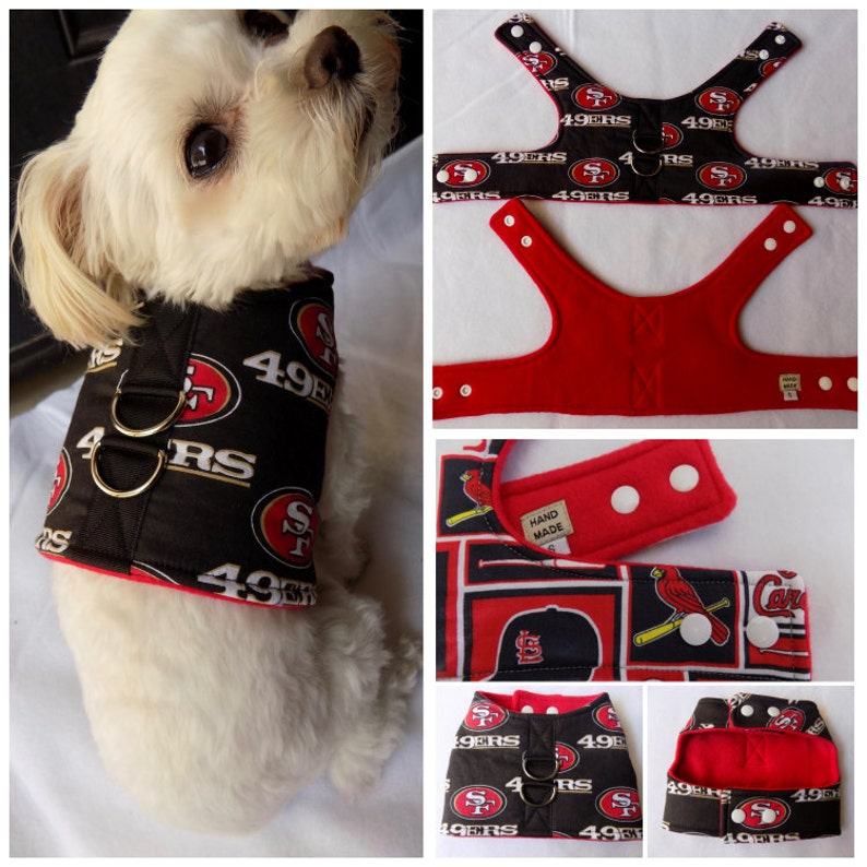 half off cfbcb 532d5 San Francisco 49ers Dog Harness. Small Breed Dogs 49ers Vest Harness. 49ers  dog vest harness. 49ers harness.