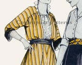 1910s blazer jacket sewing pattern. Modern pointed front hem with contrasting collar and cuffs.