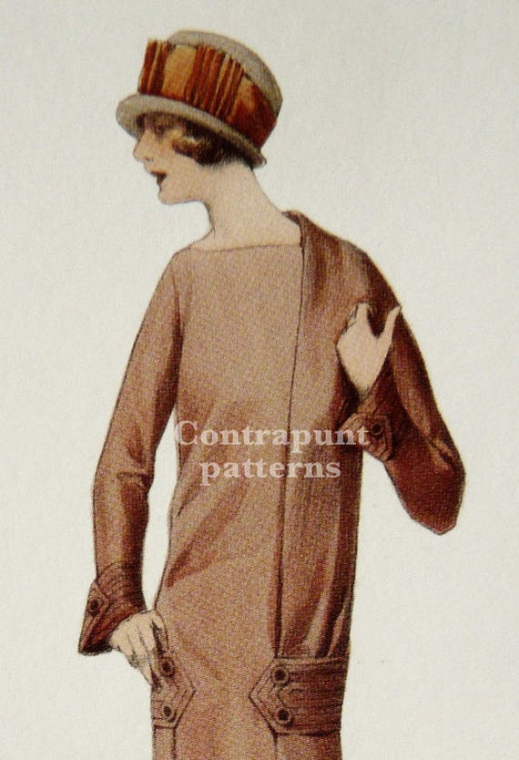 Unusual 1920s pencil dress sewing pattern. Simple and elegant, but ...