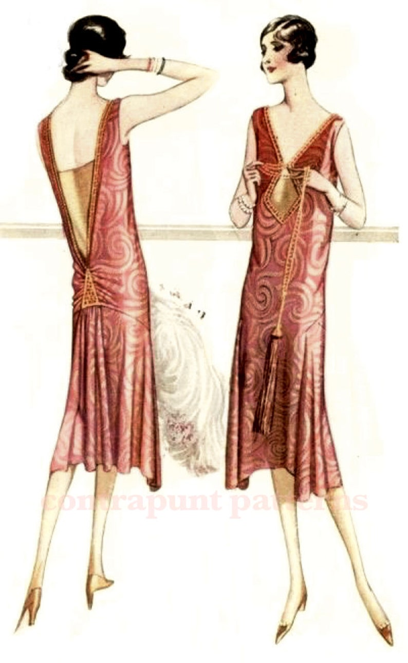 1920s Patterns – Vintage, Reproduction Sewing Patterns Classic and modern 1920s dress sewing pattern. V necklines gathered low back. Downton Abby Mary style $37.16 AT vintagedancer.com