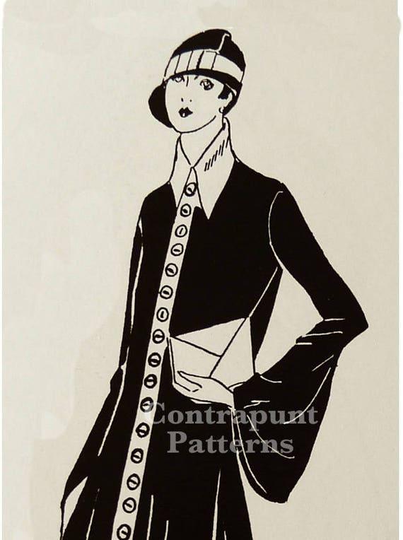buen servicio diseño popular la mejor moda Patrón de vestido camisa o abrigo años 20. Estilo clásico con destacado  cuello.