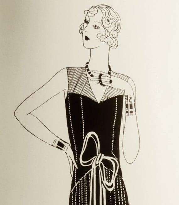 Patrón de costura vintage de los años 1920. Alegre vestido