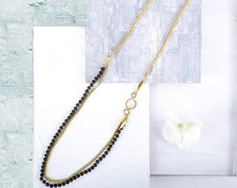 f6923fe610e Long Gold Necklace, Black Beaded Necklace, Gold Snake Chain Necklace, Long Chain  Necklace, Gold and Black Long Necklace, Black Necklace