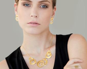 Short Gold Necklace, Gold Necklace, Short Necklace Gold, Gold Bib Necklace, Modern Necklace, Gold Statement Necklace, Statement Necklace