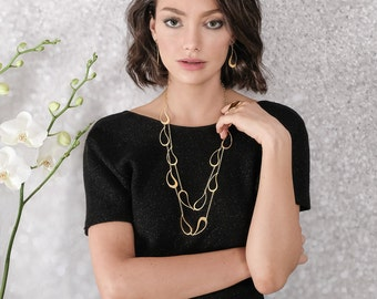 Layered Paisley Gold | Silver Multi Strand Necklace, multi strand necklace, gold necklace, paisley necklace, gold multi strand necklace