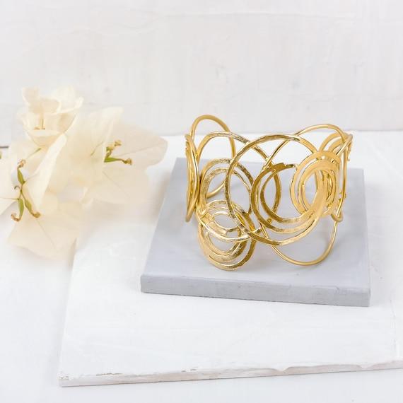 Big wide spiral Gold bracelet Statment Bracelet gold plated gold cuff bracelet cuff bracele statement bracelet Gold Bracelet unique