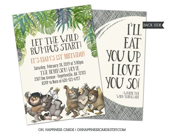 Where The Wild Things Are Birthday Invitation One