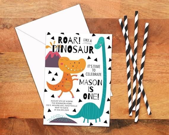 Dinosaur Birthday Invitation Printable 1st Birthday Invitation Etsy