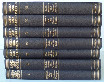 vintage book set, Lands and People, 7 volumes, 1963, free shipping, from Diz Has Neat Stuff