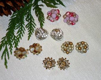 Vtg Earrings Lot - Set of 5