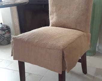 Quick View. Short Skirt Cotton Off White Or Burlap Parson Chair Slipcovers  Unlined