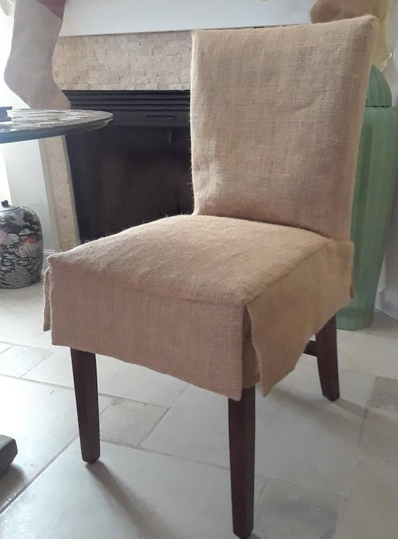 Charmant Custom 4 Short Skirt Burlap Parson Chair Slipcovers Fully | Etsy