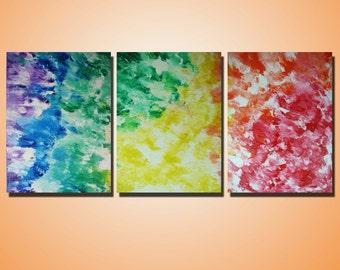 "RAINBOW - Original Painting - Heavy Acrylic Texture - Triptych Art on Canvas  24"" x 54"" x 3/4"""