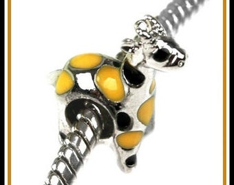 Cute GIRAFFE with Yellow and Black Enamel Spots - Silver Plated Charm Bead - Excellent Quality - fits European Bracelets - ME-2510-C