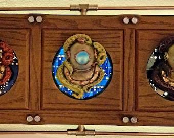 Steampunk Diver Wall Plaque, OOAK