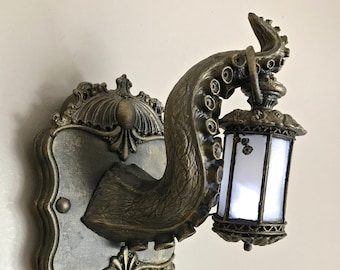 Tentacle Lantern Wall Plaque with LED Light Feature, Bronze Finish