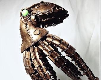 Mecha Kraken Statue, Steampunk Brass Finish